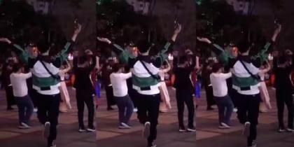 张艺兴街头和阿姨跳广场舞 疯狂踩点毫无违和感