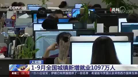 人社部 1-9月全国城镇新增就业1097万人