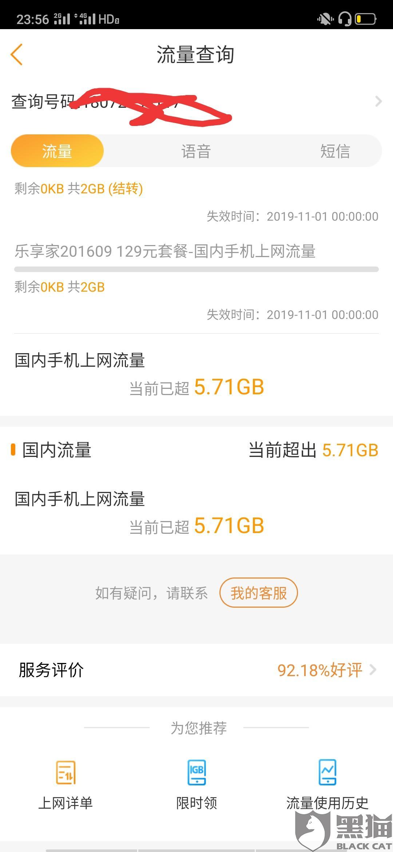 黑猫投诉:中国电信未通知客户流量超额!