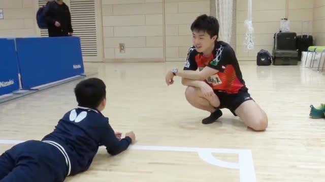 参加2020年团体世乒赛日本第一次选拔赛的神巧也和松岛辉空