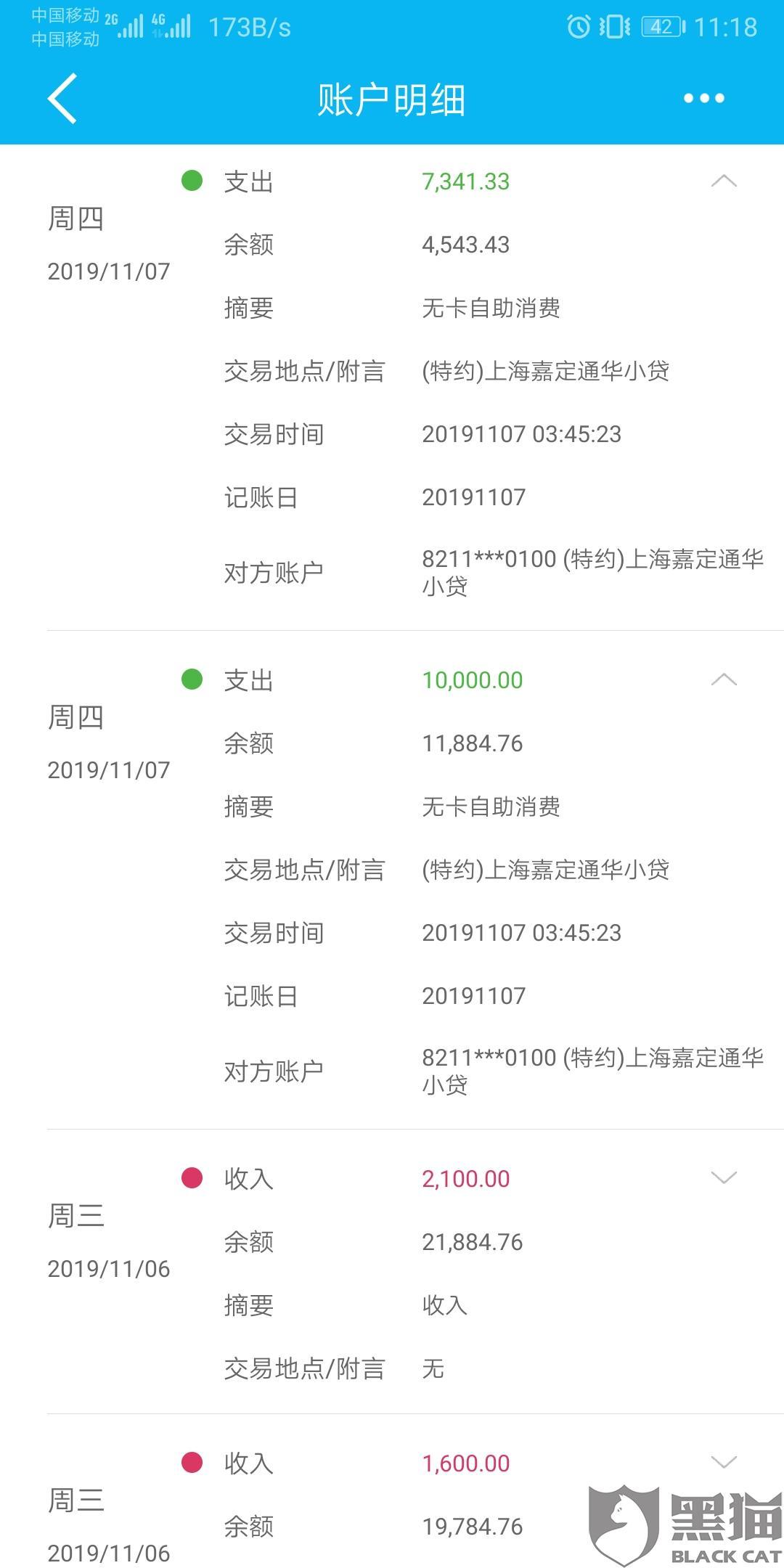 黑猫投诉:上海嘉定通华小贷公司恶意扣款