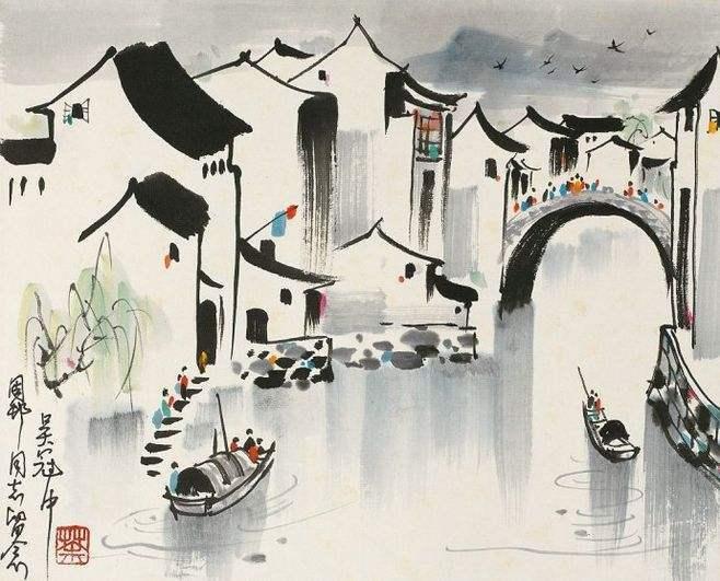 她的水彩作品,有吴冠中笔下的水乡特色,凝聚艺术最动人的情