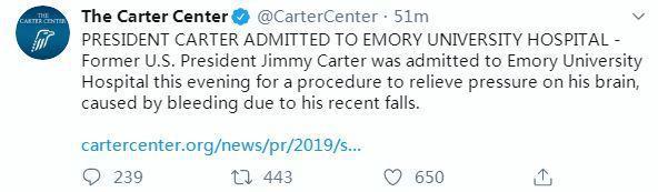 外媒:美国前总统卡特住院 将接受脑部手术