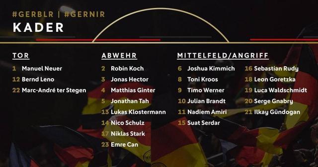 德国队公布球员号码 布兰特身披10号阿米里11号