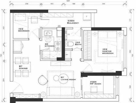 75平小三房,混搭风设计,一个年轻小资又充满艺术气息的空间