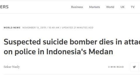 印尼棉兰炸弹袭击 袭击者本人身亡 另有6人受伤