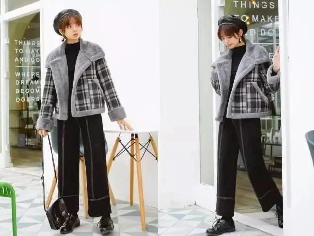 羊羔毛短外套阔腿裤,冬天这穿减龄又时髦