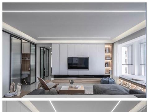 房子装修,客厅一整面墙电视柜设计,收纳空间大几倍