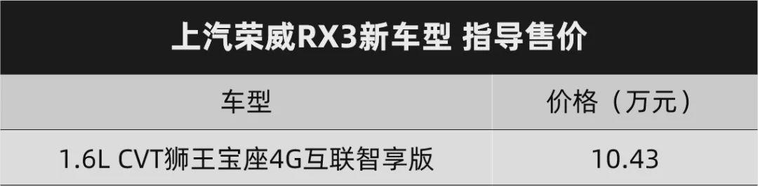 1成首付买新车,上汽荣威RX3新车型上市