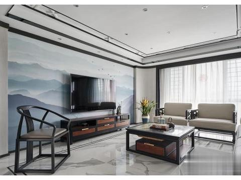 现代中式风别墅案例图,客厅与餐厅之间的隔断设计,很有意境!