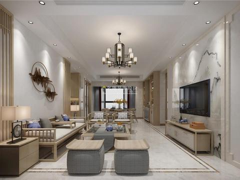 150㎡三居室装修成中式风格只需16万是不是很不错