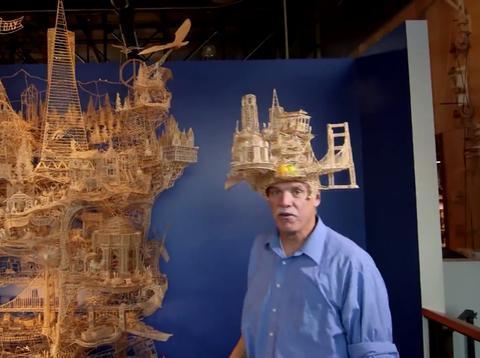 世界最精美的艺术品,37年用10万根牙签,拼造出一座旧金山城市