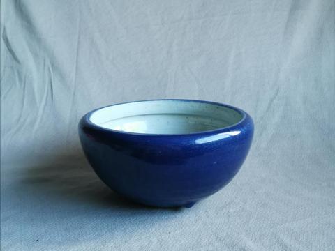 清中期民窑祭蓝釉乳足钵式香炉