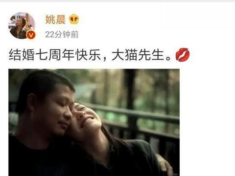 姚晨发文庆结婚七周年,倚老公曹郁肩头笑容灿烂