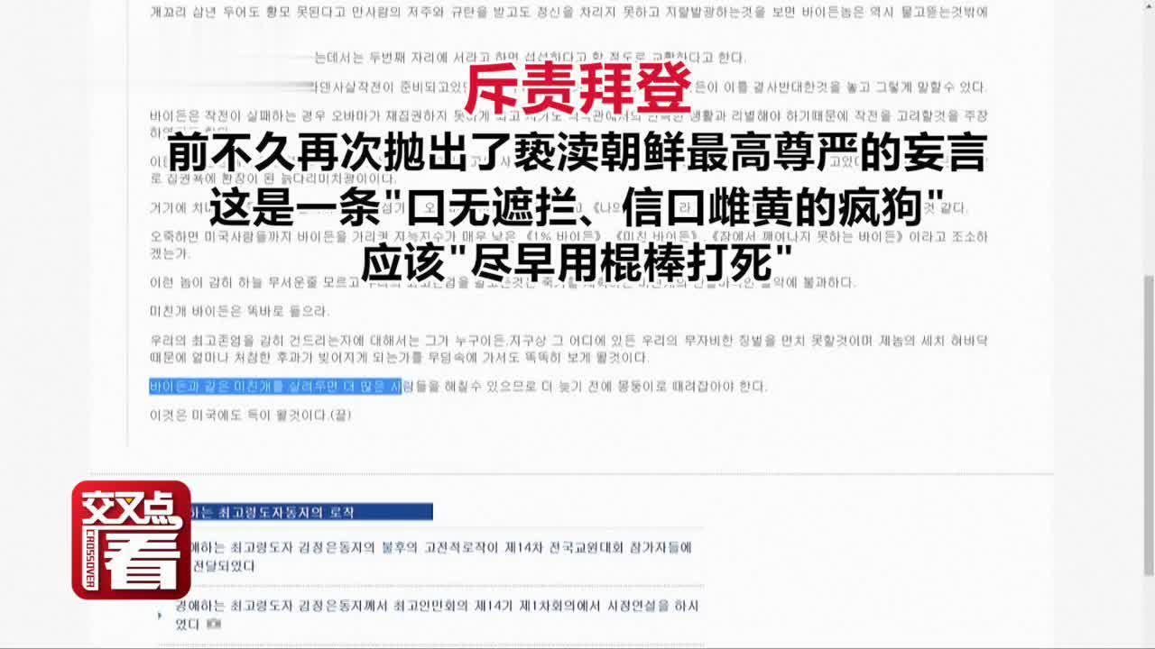"""视频 活久见!特朗普竟为""""死敌""""拜登说话怼朝鲜媒体"""