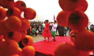 昭化区大朝乡牛头村举办柿子节,吸引游客云集