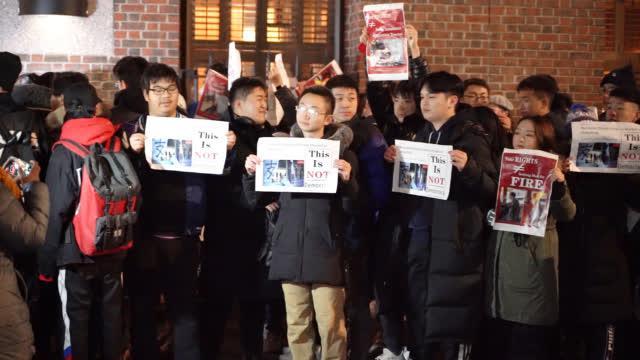 """视频-""""港独""""头目罗冠聪在纽约大学谈人权 引发中国留学生强烈抗议"""