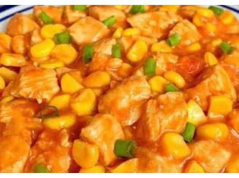 推荐几道简单好吃的小菜,茄汁鸡胸烧玉米,牛丸烧豆腐,肉炒菜花