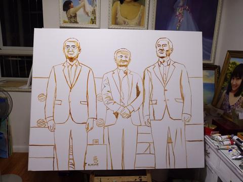 画家潘绫莹绘画的互联网BAT三巨头油画作品