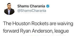 美记:莱恩-安德森被球队裁掉