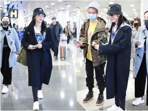 姚晨穿深蓝色大衣戴渔夫帽,机场未修图看呆网友:哪像当妈的人