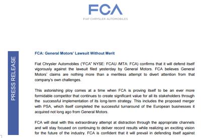 FCA否认卷入通用与UAW谈判,质疑干扰其与PSA合并计划