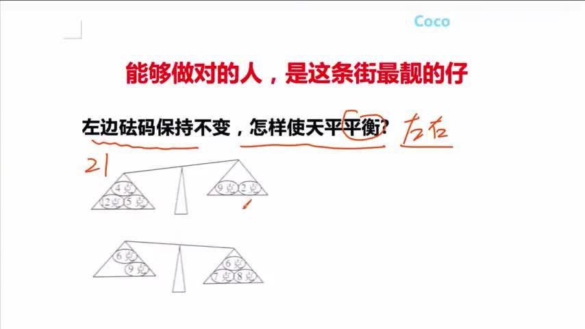 趣味数学:左边砝码保持不变,怎样使天平平衡?提高孩子学习兴趣