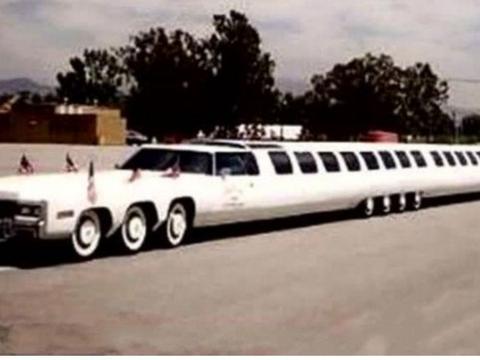 世界上最长汽车,车顶能停直升机,内设游泳池与高尔夫球场!