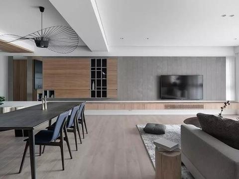 原木色现代简约风,电视背景墙好看大气,客厅光线通透明亮!