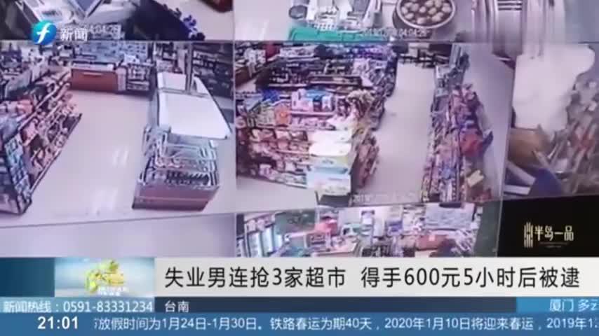 失业男连抢3家超市,得手600元新台币5小时后被逮