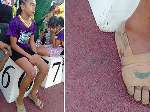 """菲律宾11岁女童穿自制""""跑鞋"""",参加校园田径赛夺下3金"""