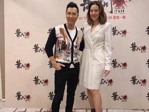 甄子丹夫妇罕见同框,38岁汪诗诗穿6315白裙显超模身材