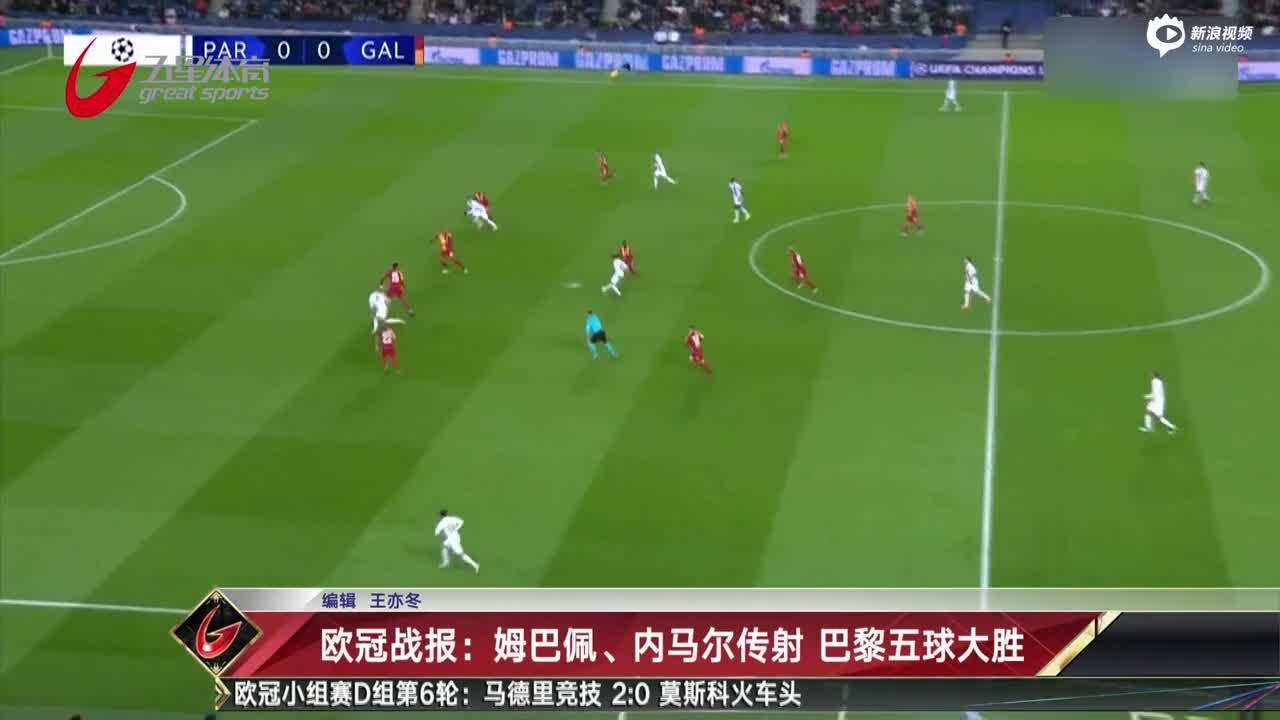 视频-欧冠战报:姆巴佩、内马尔传射 巴黎五球大胜
