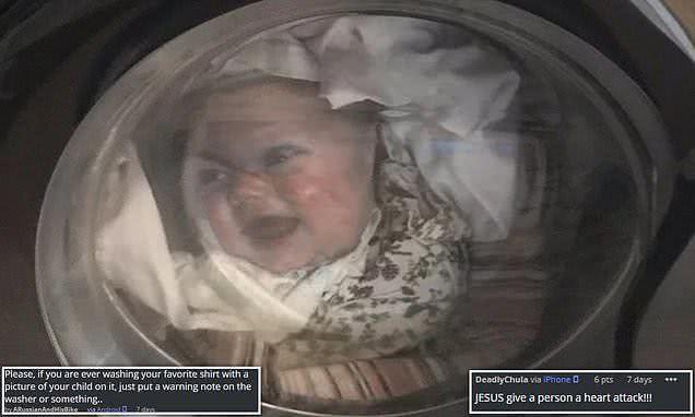 俄罗斯老爸洗衣服时,透过洗衣机前窗看到小儿子的脸