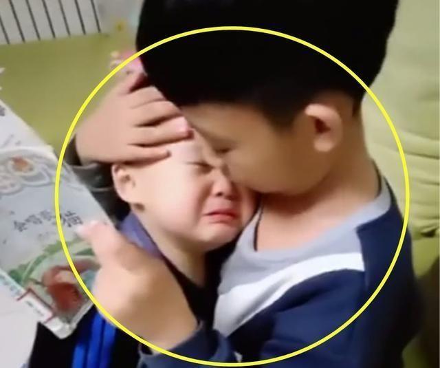弟弟被批评后跑到哥哥怀里求安慰,画面很有爱,网友:想生二胎了