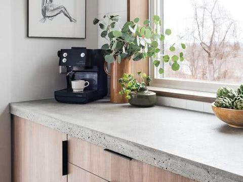 不用木板,不用大理石,现在家家都用水泥浇橱柜台面!耐用又好看