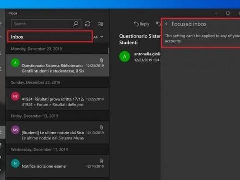 微软疑要放弃Win10 Mail应用的Focused inbox功能