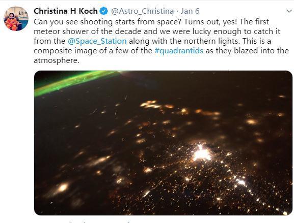 宇航员克里斯蒂娜•科赫的社交账号截图。