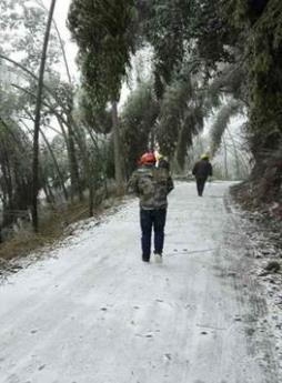 国网广平县供电公司踏雪巡视供电线路