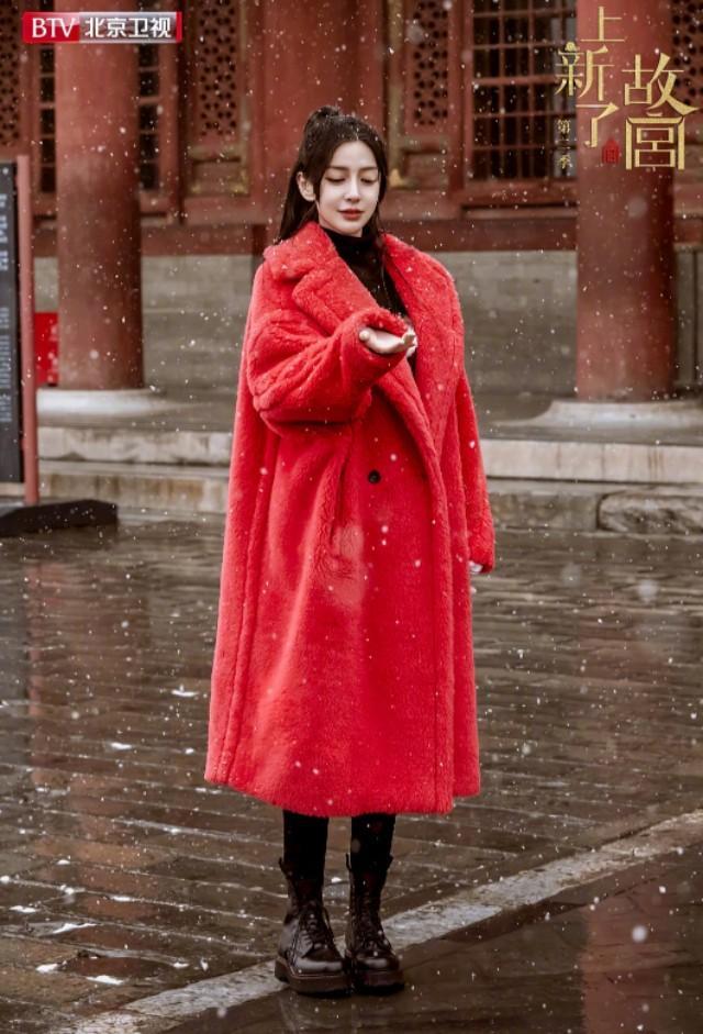 Angela baby 上新了故宫,红色大衣真的很搭故宫雪景,好景配美人