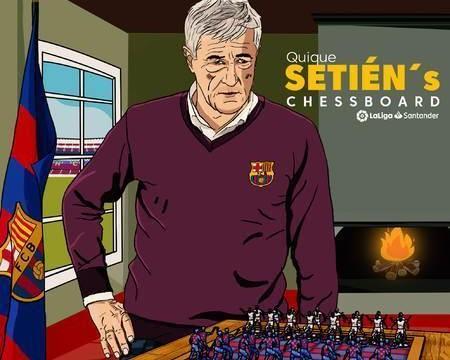西甲漫画:国际象棋爱好者塞蒂恩,他会怎么排巴萨首发呢