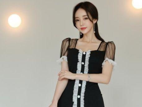 孙允珠:伐克田园女伶清透雪纺裙写真