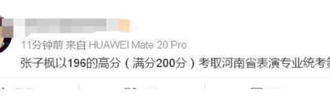 这成绩!张子枫河南艺考表演专业第1名,离满分只差4分
