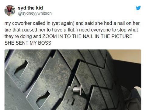 """员工迟到发轮胎被扎的PS照片骗领导,""""两毛钱""""特效遭网友群嘲"""