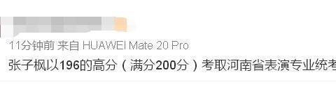 张子枫艺考成绩被发出,离满分只差4分,居河南表演专业第一名