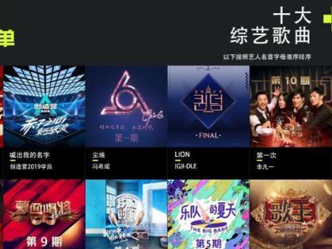 2019十大综艺歌曲公开,明日之子一人上榜,不是张钰琪