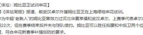 姆比亚试训上海申花,名记透露武汉卓尔不续约的理由竟是…