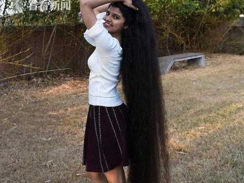 印度少女头发长1.9米 为了不摔跤只能穿高跟鞋