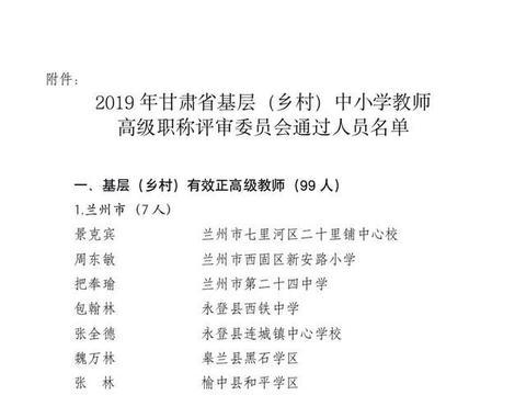 公示!2019年甘肃省基层(乡村)中小学教师高级职称评审通过人员