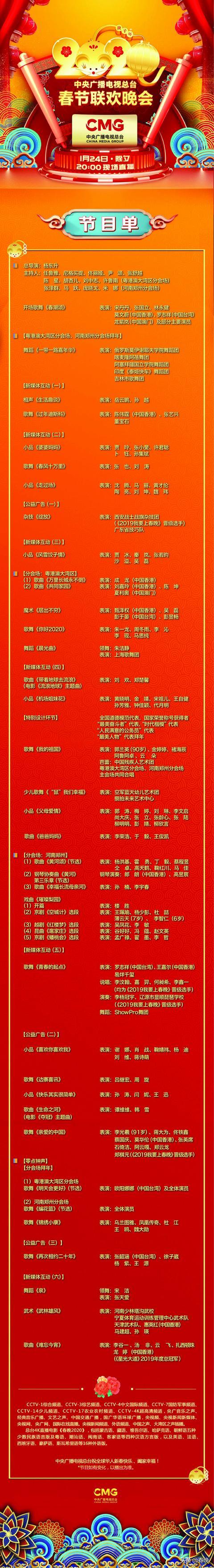 官宣!《2020年春节联欢晚会》节目单正式出炉